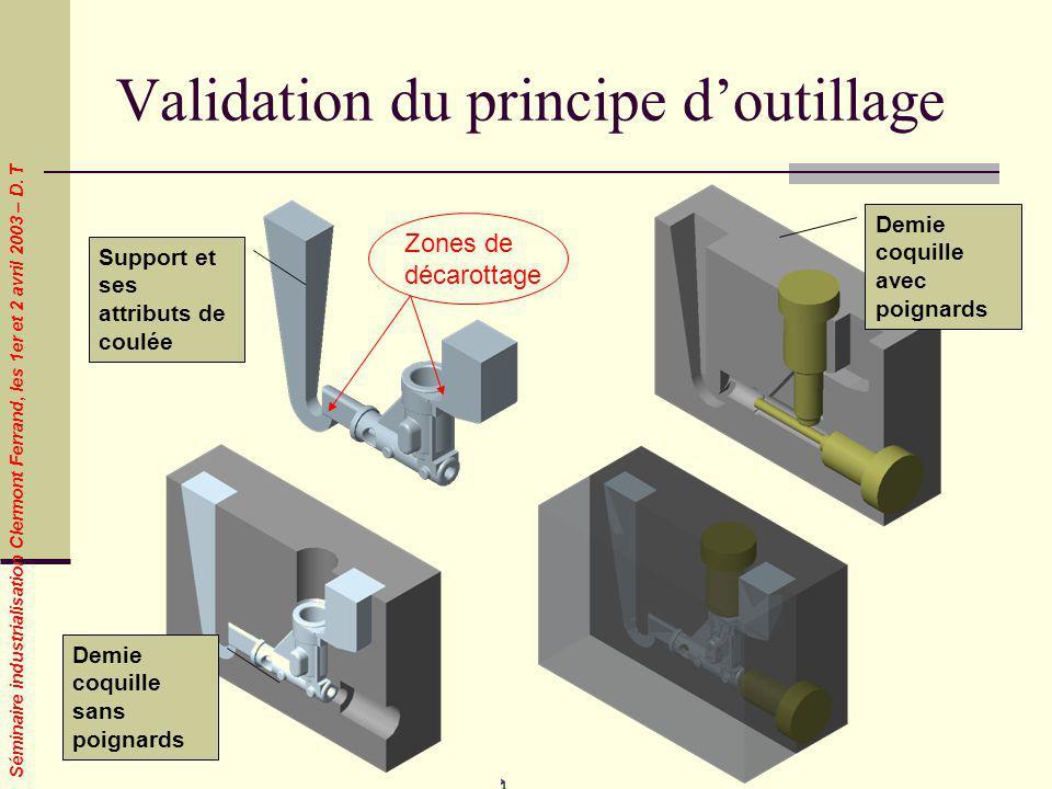 Séminaire industrialisation Clermont Ferrand, les 1er et 2 avril 2003 – D. T Validation du principe doutillage Support et ses attributs de coulée Demi