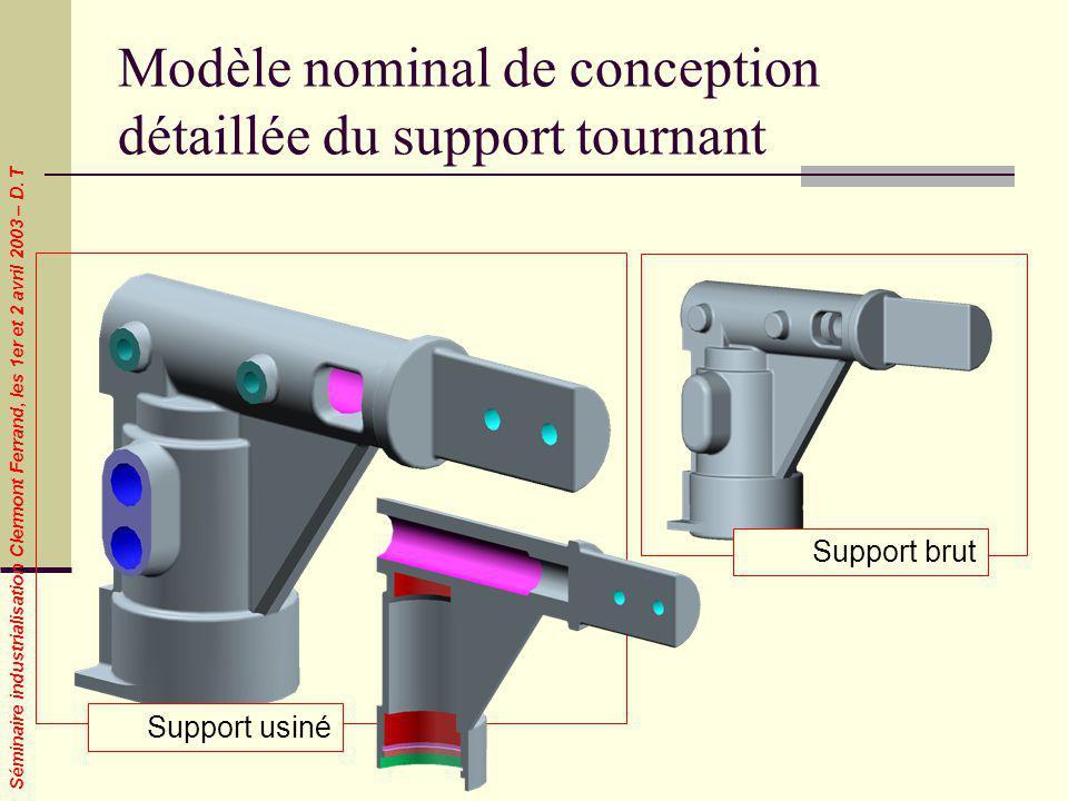 Séminaire industrialisation Clermont Ferrand, les 1er et 2 avril 2003 – D. T Modèle nominal de conception détaillée du support tournant Support usiné