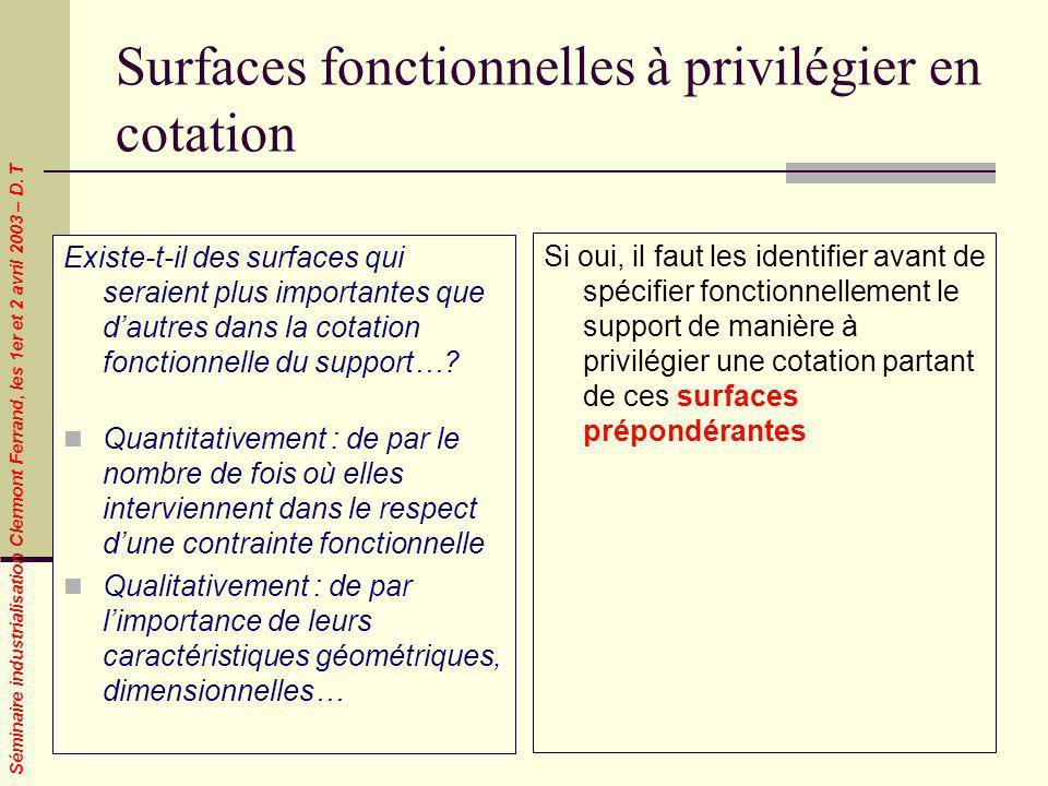 Séminaire industrialisation Clermont Ferrand, les 1er et 2 avril 2003 – D. T Surfaces fonctionnelles à privilégier en cotation Existe-t-il des surface