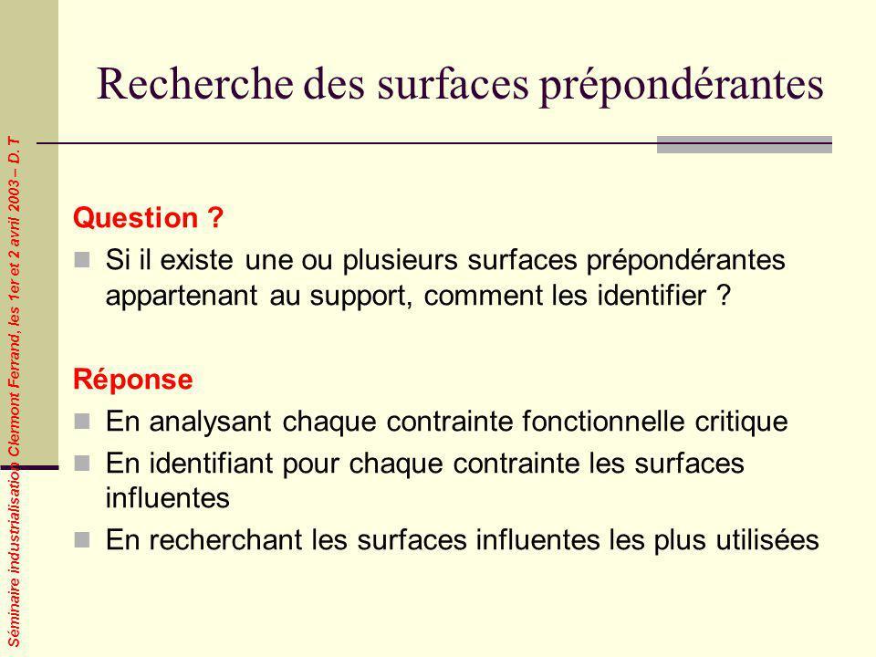 Séminaire industrialisation Clermont Ferrand, les 1er et 2 avril 2003 – D. T Recherche des surfaces prépondérantes Question ? Si il existe une ou plus