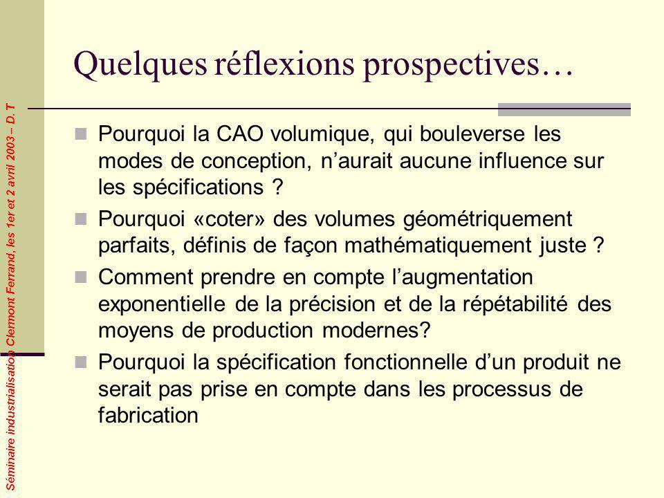 Séminaire industrialisation Clermont Ferrand, les 1er et 2 avril 2003 – D. T Quelques réflexions prospectives… Pourquoi la CAO volumique, qui boulever