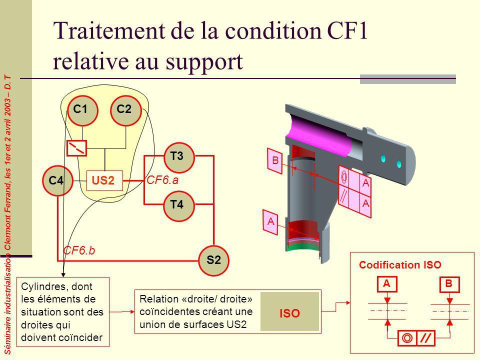 Séminaire industrialisation Clermont Ferrand, les 1er et 2 avril 2003 – D. T B A A A Traitement de la condition CF1 relative au support Cylindres, don