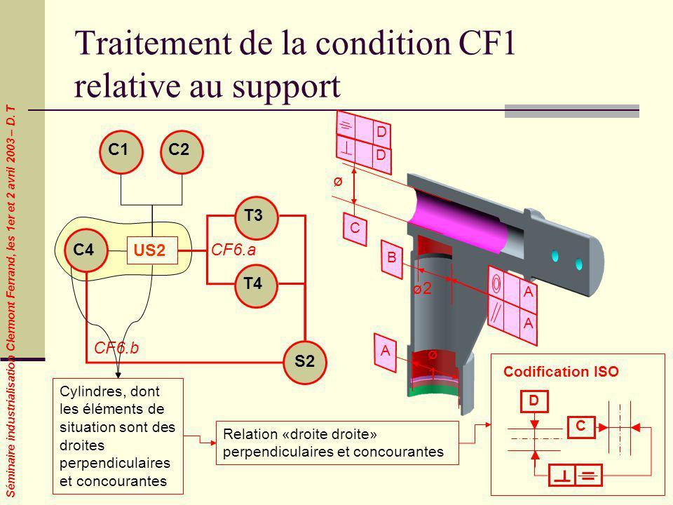 Séminaire industrialisation Clermont Ferrand, les 1er et 2 avril 2003 – D. T Traitement de la condition CF1 relative au support C4 US2 C1C2 CF6.a T3 T