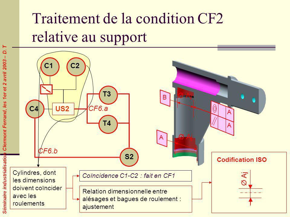Séminaire industrialisation Clermont Ferrand, les 1er et 2 avril 2003 – D. T Traitement de la condition CF2 relative au support Cylindres, dont les di
