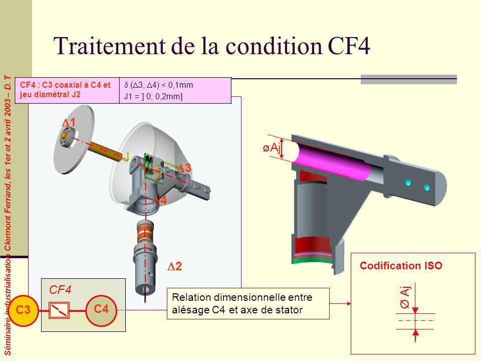Séminaire industrialisation Clermont Ferrand, les 1er et 2 avril 2003 – D. T Traitement de la condition CF4 1 2 4 3 CF4 : C3 coaxial à C4 et jeu diamé