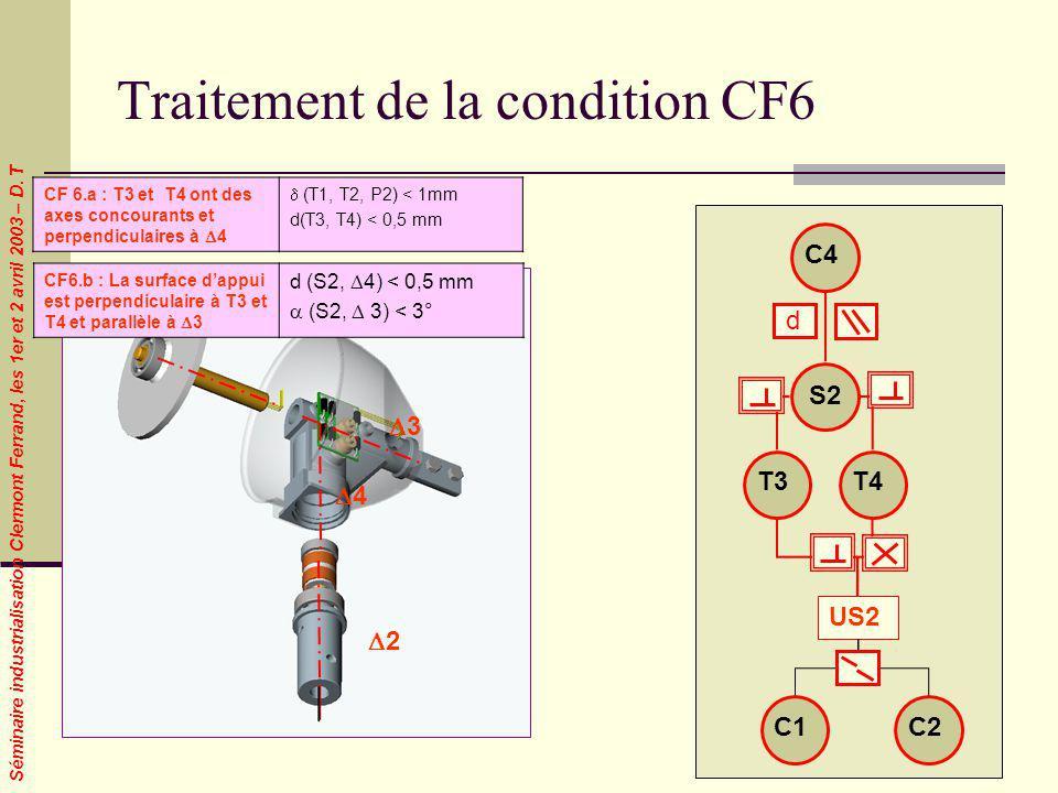 Séminaire industrialisation Clermont Ferrand, les 1er et 2 avril 2003 – D. T Traitement de la condition CF6 1 2 4 3 CF 6.a : T3 et T4 ont des axes con