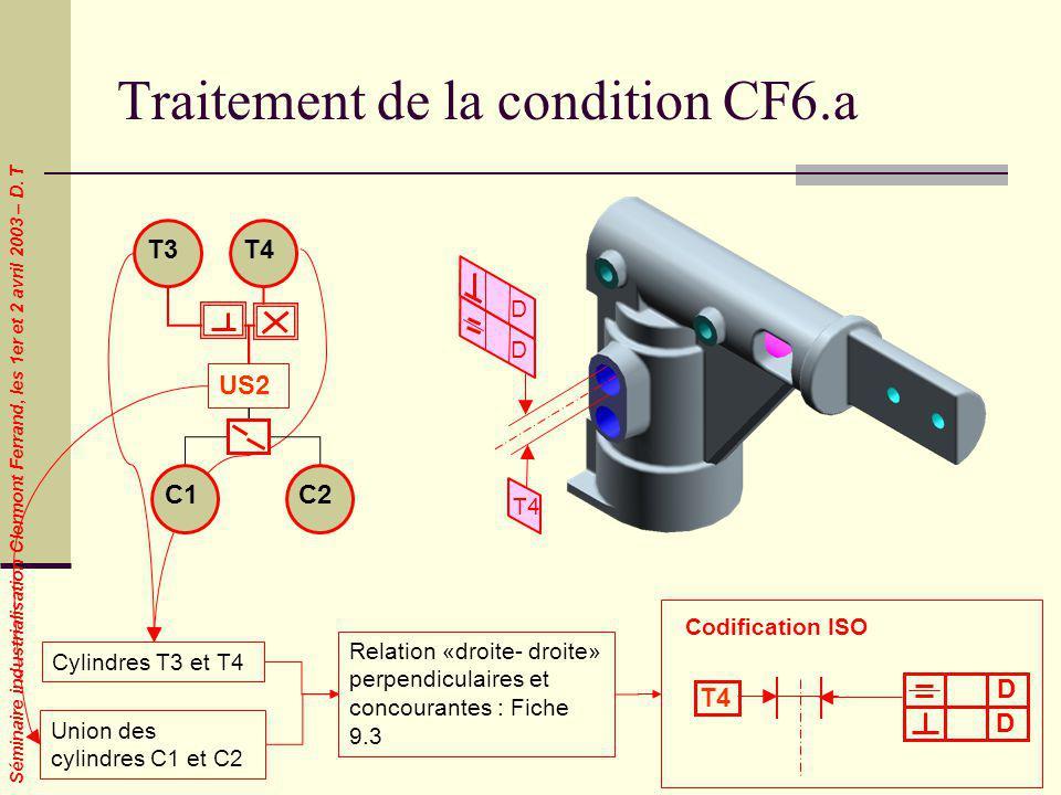 Séminaire industrialisation Clermont Ferrand, les 1er et 2 avril 2003 – D. T Traitement de la condition CF6.a Cylindres T3 et T4 Union des cylindres C