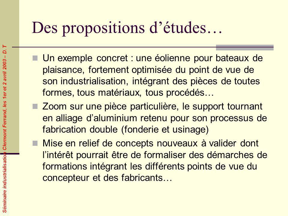 Séminaire industrialisation Clermont Ferrand, les 1er et 2 avril 2003 – D. T Des propositions détudes… Un exemple concret : une éolienne pour bateaux