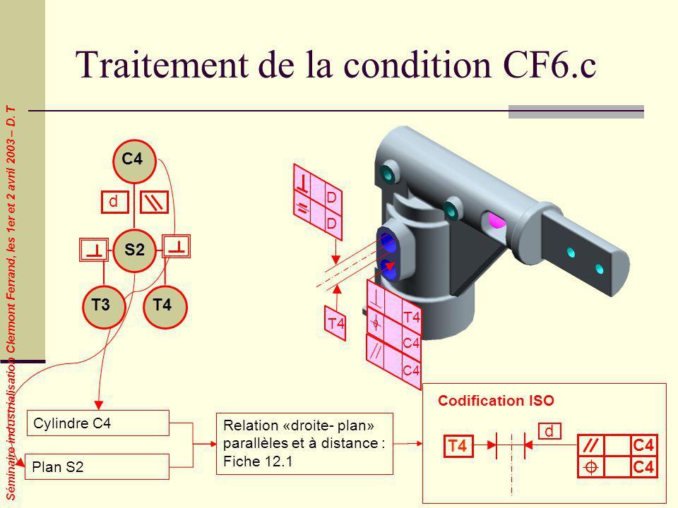 Séminaire industrialisation Clermont Ferrand, les 1er et 2 avril 2003 – D. T Traitement de la condition CF6.c Cylindre C4 Plan S2 Codification ISO Rel
