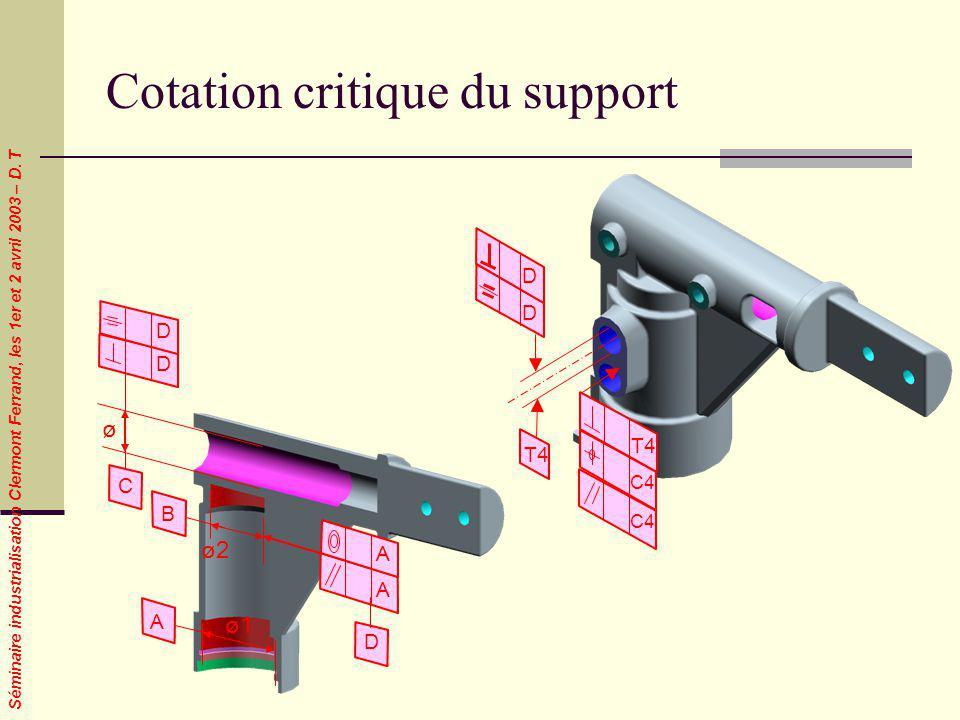 Séminaire industrialisation Clermont Ferrand, les 1er et 2 avril 2003 – D. T Cotation critique du support D D T4 C4 ø1 ø2 B A A A ø C D D D