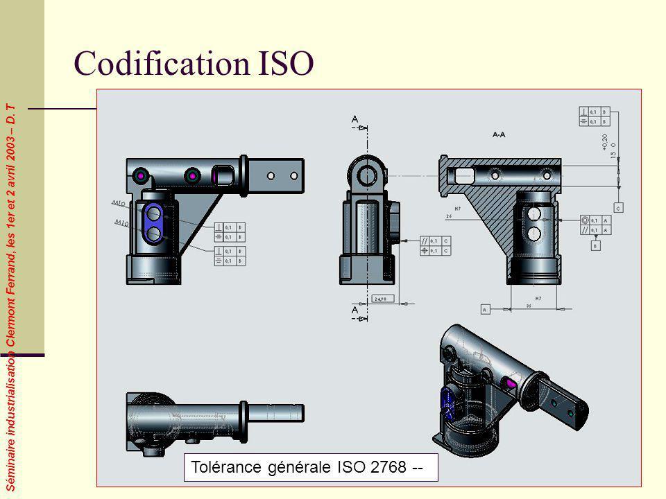 Séminaire industrialisation Clermont Ferrand, les 1er et 2 avril 2003 – D. T Codification ISO Tolérance générale ISO 2768 --