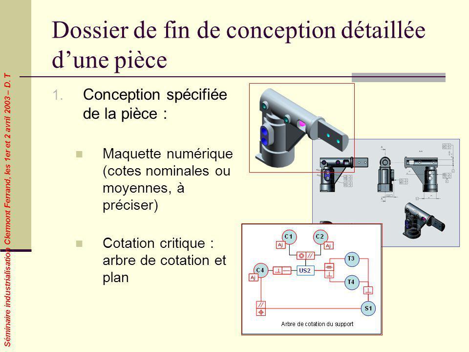 Séminaire industrialisation Clermont Ferrand, les 1er et 2 avril 2003 – D. T Dossier de fin de conception détaillée dune pièce 1. Conception spécifiée