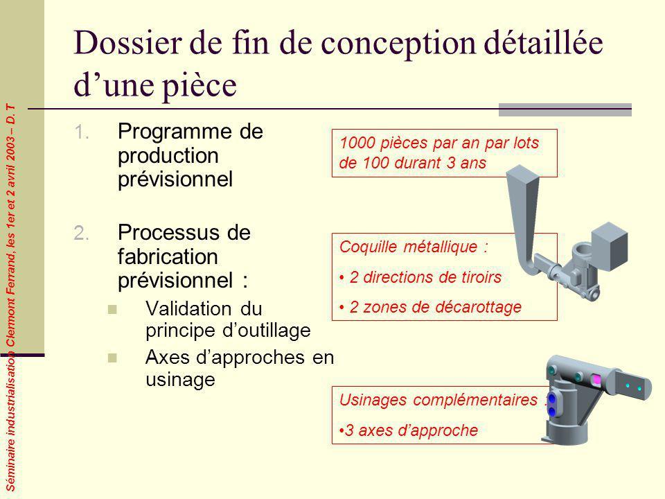 Séminaire industrialisation Clermont Ferrand, les 1er et 2 avril 2003 – D. T Dossier de fin de conception détaillée dune pièce 1. Programme de product