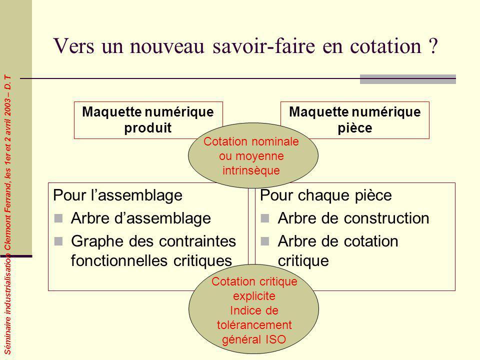 Séminaire industrialisation Clermont Ferrand, les 1er et 2 avril 2003 – D. T Vers un nouveau savoir-faire en cotation ? Pour lassemblage Arbre dassemb
