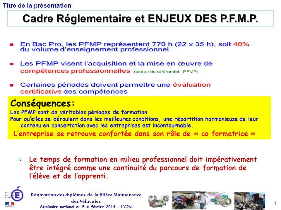 1 Rénovation des diplômes de la filière Maintenance des Véhicules Séminaire national du 5-6 février 2014 - LYON Titre de la présentation Cadre Réglementaire et ENJEUX DES P.F.M.P.