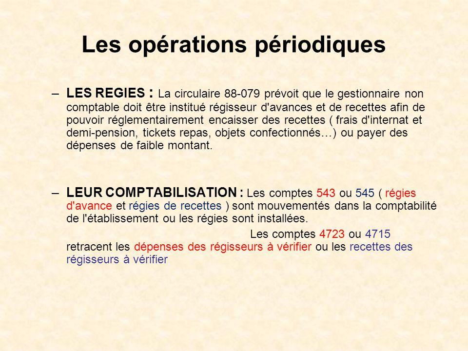 Les opérations périodiques –LES REGIES : La circulaire 88-079 prévoit que le gestionnaire non comptable doit être institué régisseur d'avances et de r