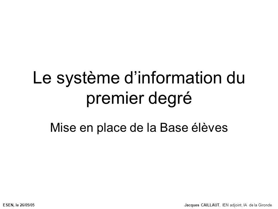 Le système dinformation du premier degré Mise en place de la Base élèves ESEN, le 26/05/05Jacques CAILLAUT, IEN adjoint, IA de la Gironde