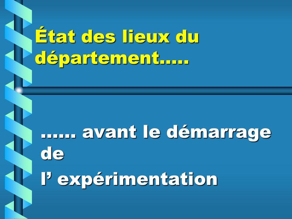 État des lieux du département….. …… avant le démarrage de l expérimentation