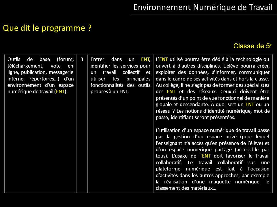 Environnement Numérique de Travail Que dit le programme .
