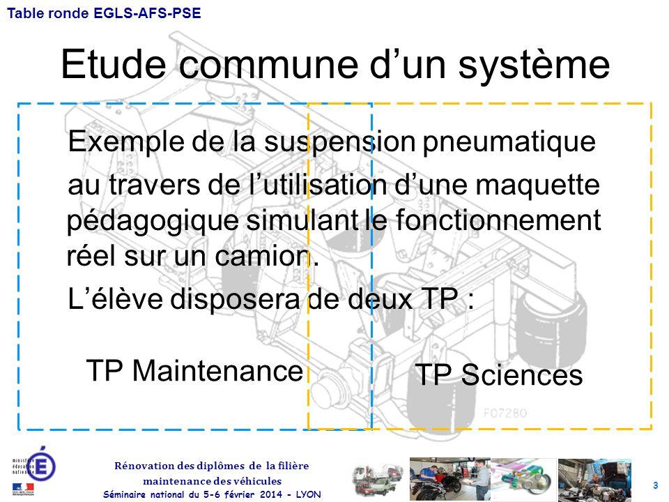 3 Rénovation des diplômes de la filière maintenance des véhicules Séminaire national du 5-6 février 2014 - LYON Table ronde EGLS-AFS-PSE Etude commune