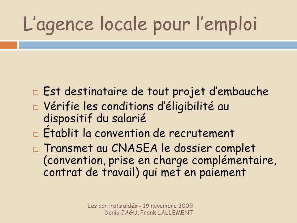 Lagence locale pour lemploi Les contrats aidés - 19 novembre 2009 Denis JAGU, Frank LALLEMENT Est destinataire de tout projet dembauche Vérifie les co