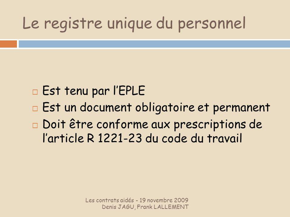 Le registre unique du personnel Les contrats aidés - 19 novembre 2009 Denis JAGU, Frank LALLEMENT Est tenu par lEPLE Est un document obligatoire et pe