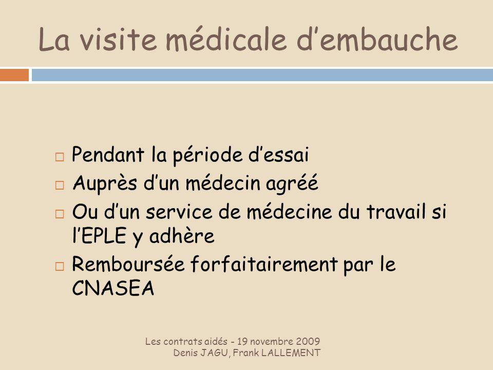 La visite médicale dembauche Les contrats aidés - 19 novembre 2009 Denis JAGU, Frank LALLEMENT Pendant la période dessai Auprès dun médecin agréé Ou d
