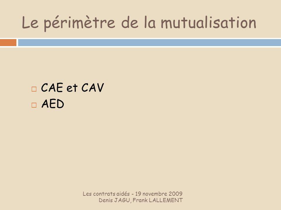 Le périmètre de la mutualisation Les contrats aidés - 19 novembre 2009 Denis JAGU, Frank LALLEMENT CAE et CAV AED