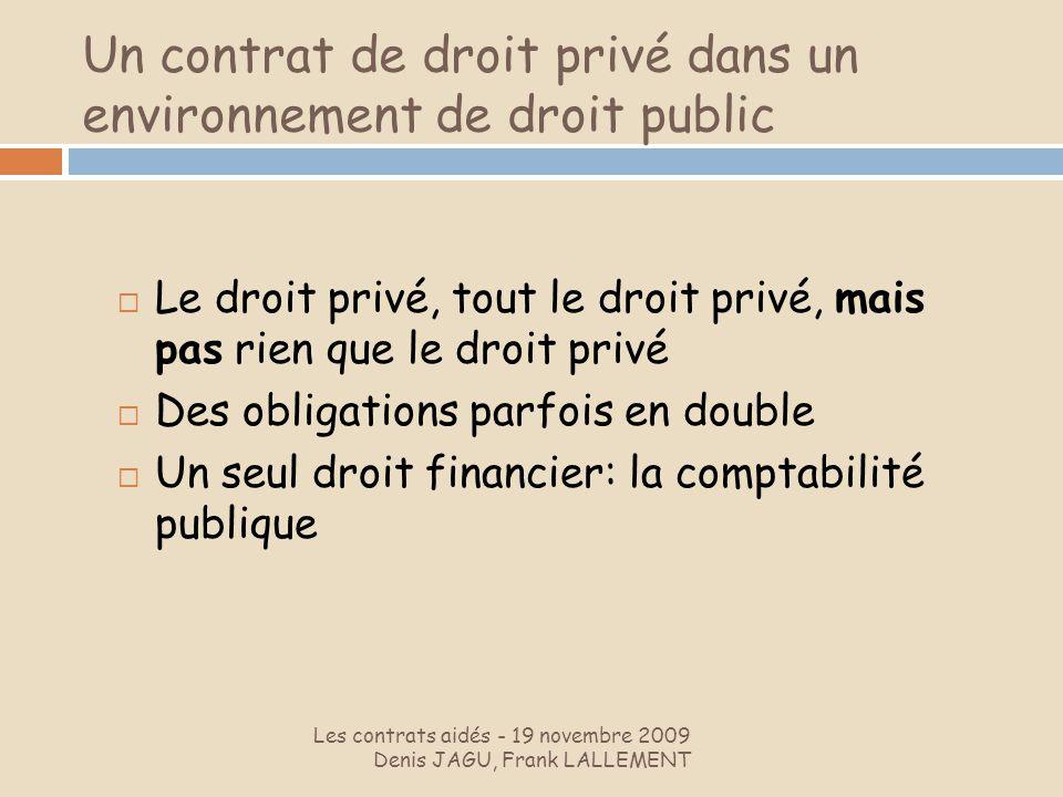 Un contrat de droit privé dans un environnement de droit public Les contrats aidés - 19 novembre 2009 Denis JAGU, Frank LALLEMENT Le droit privé, tout
