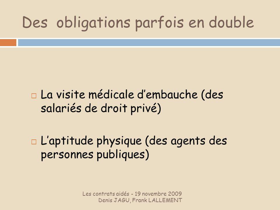 Des obligations parfois en double Les contrats aidés - 19 novembre 2009 Denis JAGU, Frank LALLEMENT La visite médicale dembauche (des salariés de droi