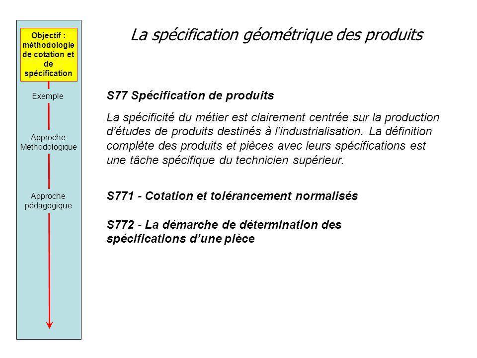 La spécification géométrique des produits Objectif : méthodologie de cotation et de spécification Approche Méthodologique Approche pédagogique S77 Spé