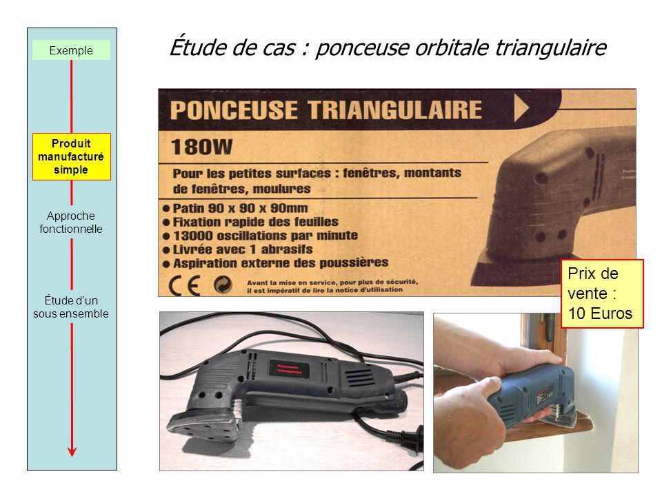 Étude de cas : ponceuse orbitale triangulaire Exemple Produit manufacturé simple Approche fonctionnelle Étude dun sous ensemble Prix de vente : 10 Euros