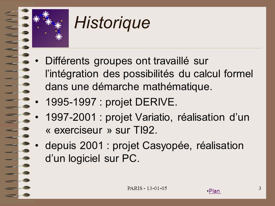 Plan PARIS - 13-01-053 Historique Différents groupes ont travaillé sur lintégration des possibilités du calcul formel dans une démarche mathématique.