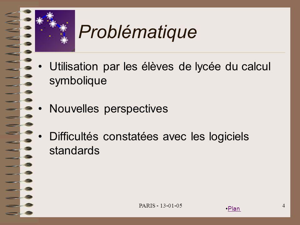 Plan PARIS - 13-01-054 Problématique Utilisation par les élèves de lycée du calcul symbolique Nouvelles perspectives Difficultés constatées avec les logiciels standards
