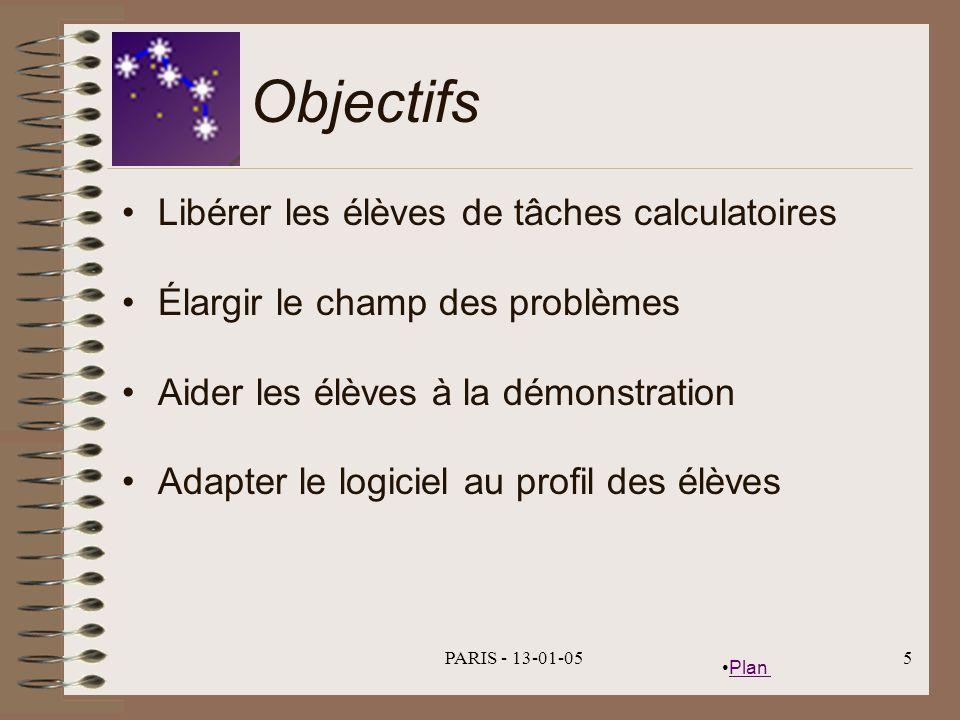Plan PARIS - 13-01-055 Objectifs Libérer les élèves de tâches calculatoires Élargir le champ des problèmes Aider les élèves à la démonstration Adapter le logiciel au profil des élèves