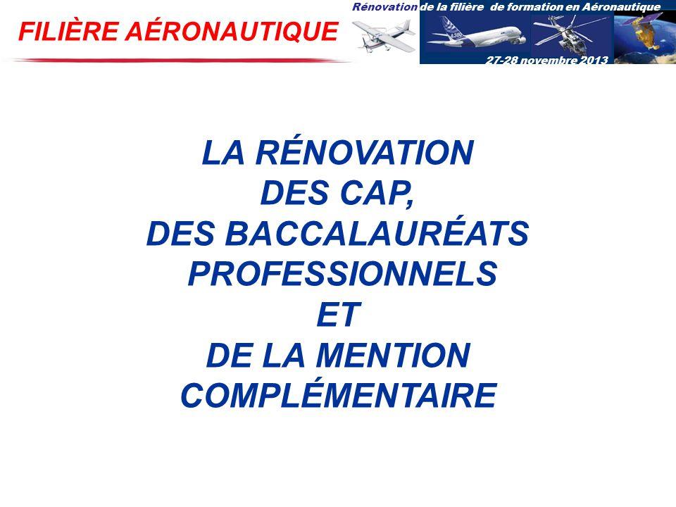 Rénovation de la filière de formation en Aéronautique 27-28 novembre 2013 LA RÉNOVATION DES CAP, DES BACCALAURÉATS PROFESSIONNELS ET DE LA MENTION COM