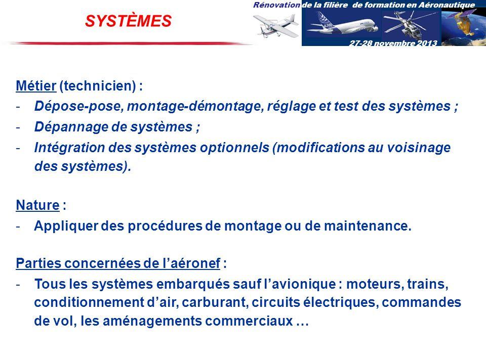Rénovation de la filière de formation en Aéronautique 27-28 novembre 2013 SYSTÈMES Métier (technicien) : -Dépose-pose, montage-démontage, réglage et t