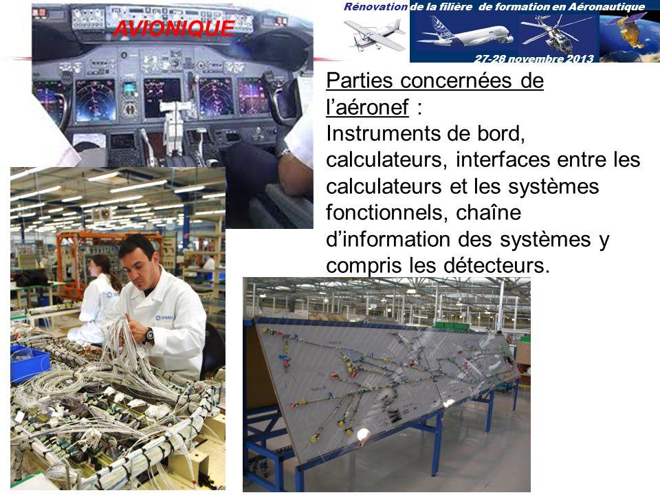 Rénovation de la filière de formation en Aéronautique 27-28 novembre 2013 Parties concernées de laéronef : Instruments de bord, calculateurs, interfac