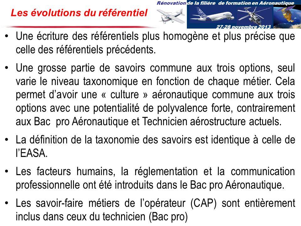 Rénovation de la filière de formation en Aéronautique 27-28 novembre 2013 Les évolutions du référentiel Une écriture des référentiels plus homogène et