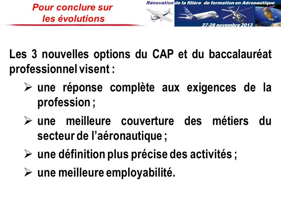 Rénovation de la filière de formation en Aéronautique 27-28 novembre 2013 Pour conclure sur les évolutions Les 3 nouvelles options du CAP et du baccal