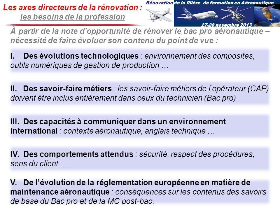Rénovation de la filière de formation en Aéronautique 27-28 novembre 2013 Les axes directeurs de la rénovation : les besoins de la profession I. Des é