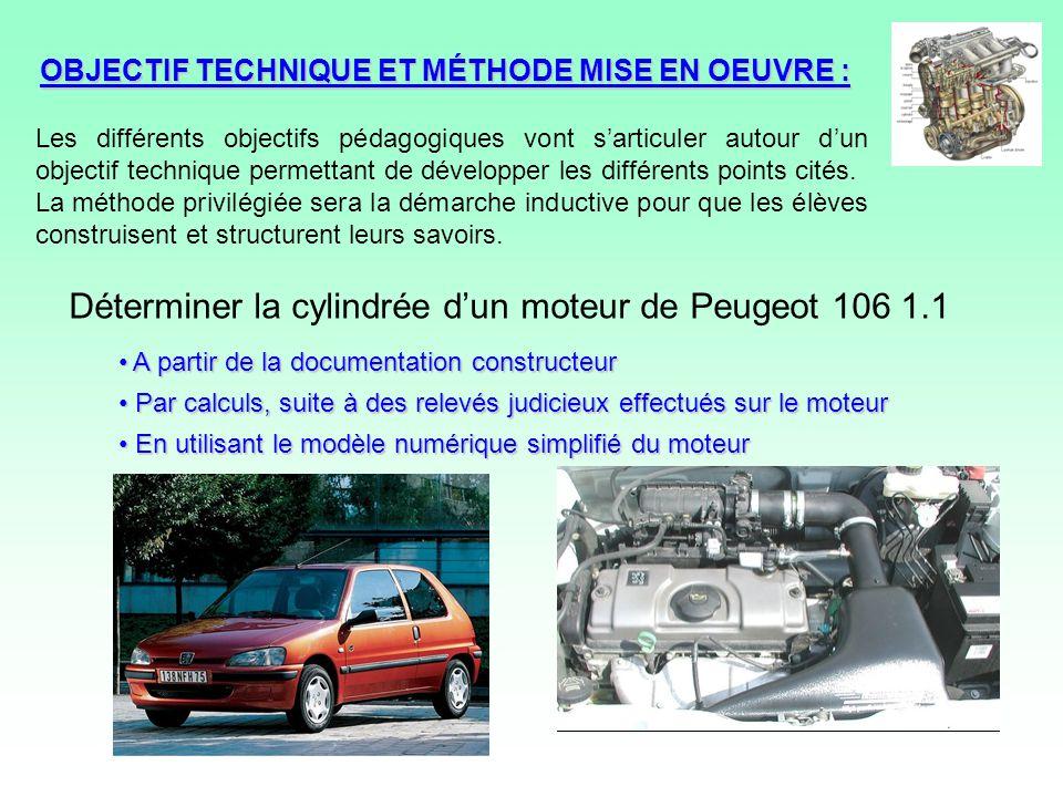 OBJECTIF TECHNIQUE ET MÉTHODE MISE EN OEUVRE : A partir de la documentation constructeur A partir de la documentation constructeur Par calculs, suite à des relevés judicieux effectués sur le moteur Par calculs, suite à des relevés judicieux effectués sur le moteur En utilisant le modèle numérique simplifié du moteur En utilisant le modèle numérique simplifié du moteur Déterminer la cylindrée dun moteur de Peugeot 106 1.1 Les différents objectifs pédagogiques vont sarticuler autour dun objectif technique permettant de développer les différents points cités.