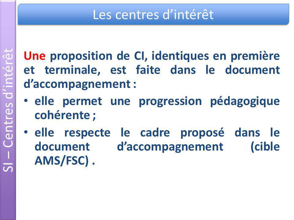 Une proposition de CI, identiques en première et terminale, est faite dans le document daccompagnement : elle permet une progression pédagogique cohér
