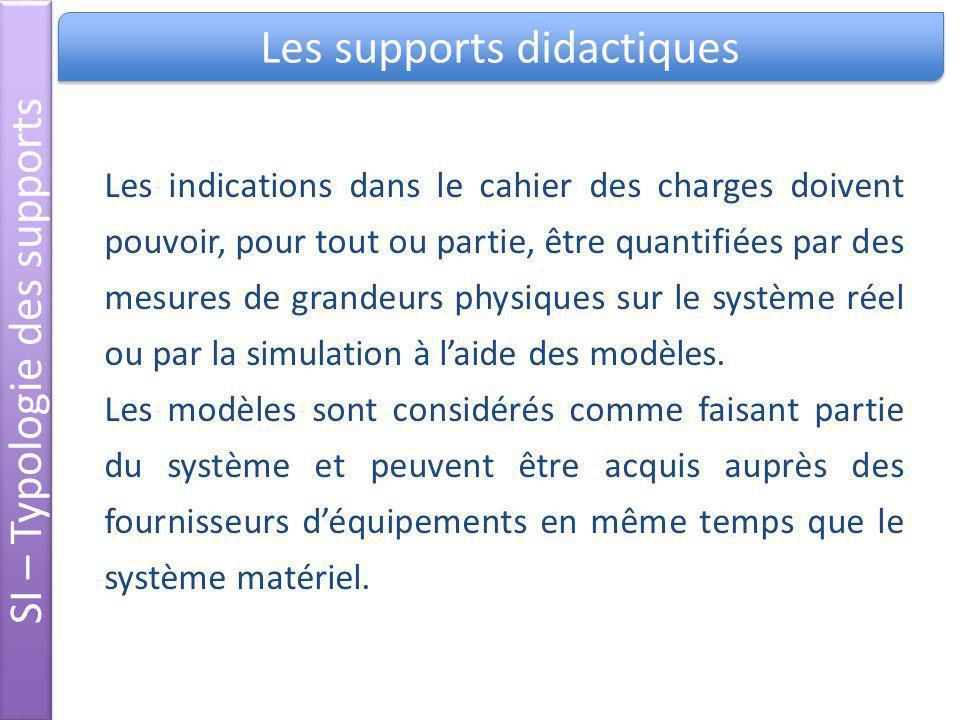 Les supports didactiques SI – Typologie des supports Les indications dans le cahier des charges doivent pouvoir, pour tout ou partie, être quantifiées