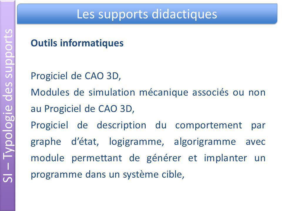 Les supports didactiques SI – Typologie des supports Outils informatiques Progiciel de CAO 3D, Modules de simulation mécanique associés ou non au Prog