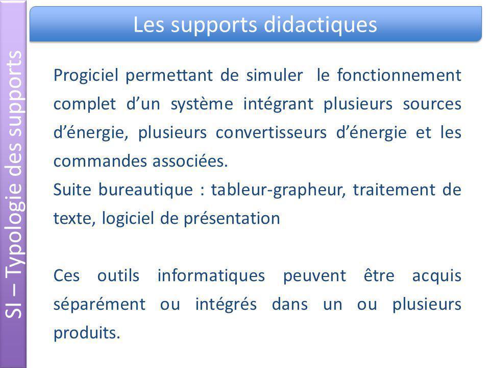 Les supports didactiques SI – Typologie des supports Progiciel permettant de simuler le fonctionnement complet dun système intégrant plusieurs sources