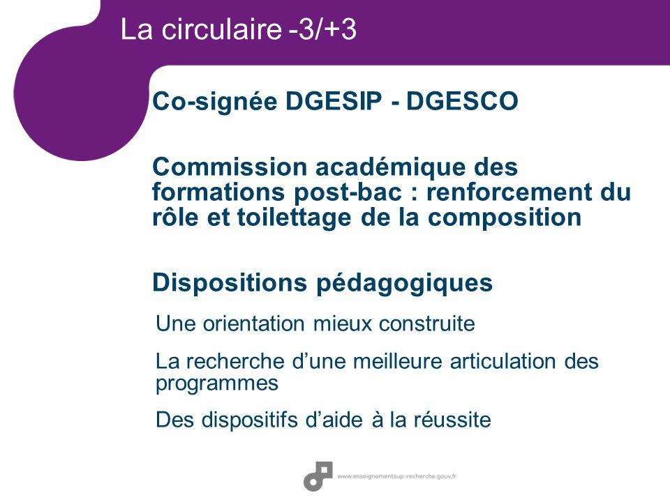 La circulaire -3/+3 Co-signée DGESIP - DGESCO Commission académique des formations post-bac : renforcement du rôle et toilettage de la composition Dis