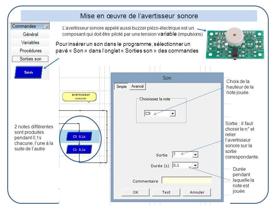 Mise en œuvre de lavertisseur sonore Sortie : il faut choisir le n° et relier lavertisseur sonore sur la sortie correspondante. Choix de la hauteur de