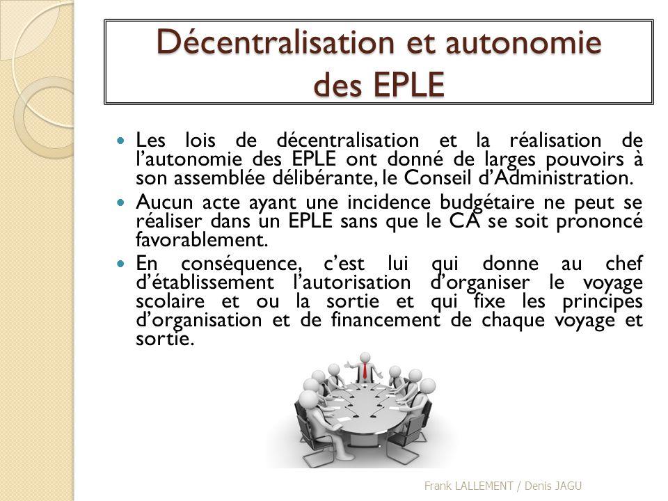 Décentralisation et autonomie des EPLE Les lois de décentralisation et la réalisation de lautonomie des EPLE ont donné de larges pouvoirs à son assemb