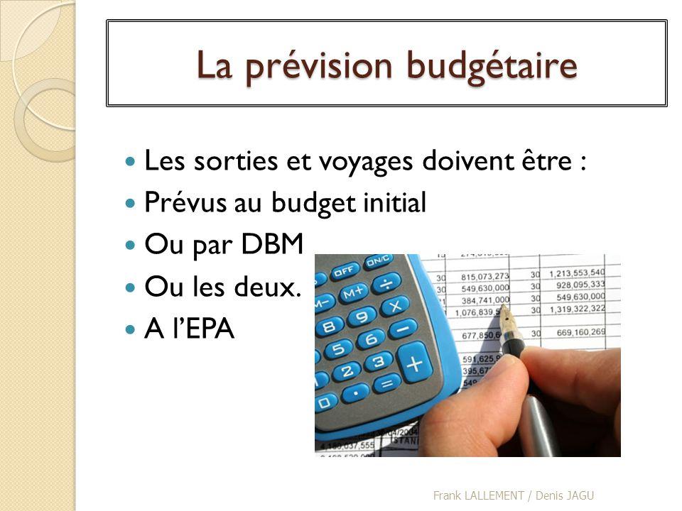 La prévision budgétaire Les sorties et voyages doivent être : Prévus au budget initial Ou par DBM Ou les deux. A lEPA Frank LALLEMENT / Denis JAGU